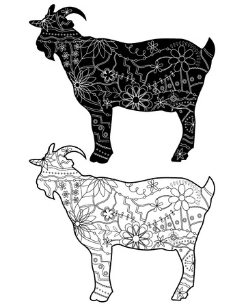 Black-and-white goats silhouettes
