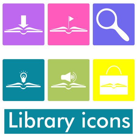 seach: Library icons Illustration