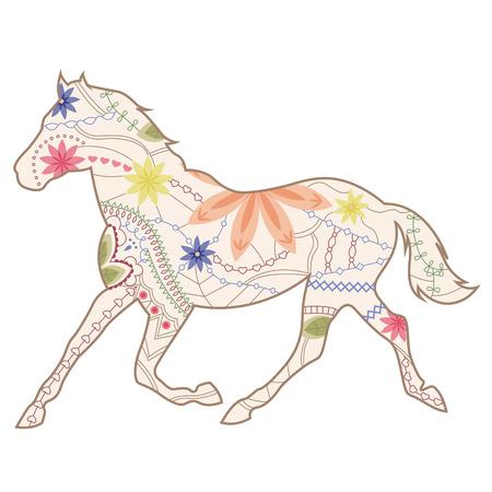 trot: Vintage horse runs trot Illustration