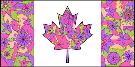 Colorful flag of Canada Illustration