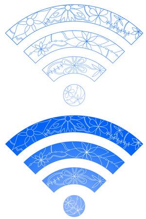 ap: Set of wi-fi signs Illustration