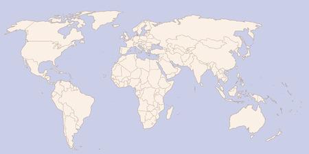 Kontur Weltkarte Standard-Bild - 30675099