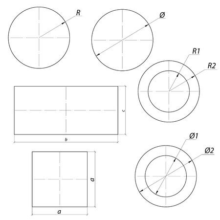 diameter: set di semplice disegno forme con dimensioni Vettoriali
