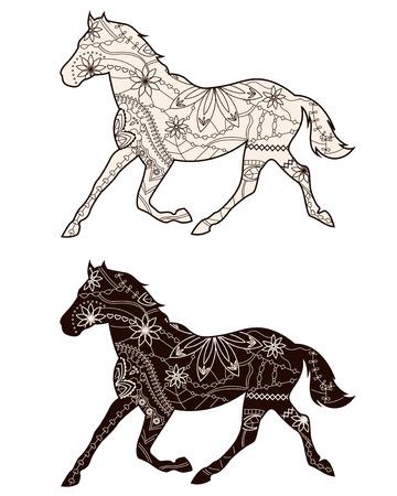black horse: Conjunto de caballos marrones