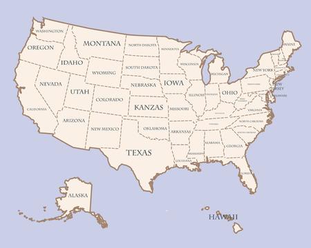 USA kaart met staten namen
