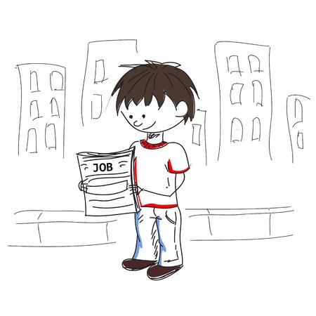 Mirada del muchacho por un boceto