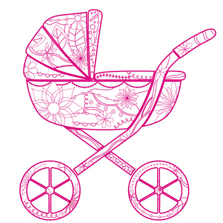 baby girl: vector isolated baby carriage for girl