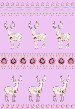 vectoe: Deers with flowers