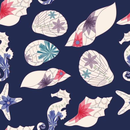 seamless bacground: Marine pattern Illustration
