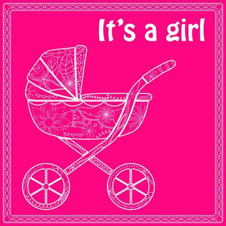 baby girl: Its a girl card with baby carriage Illustration