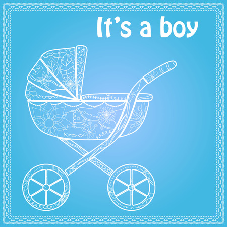 its: Its a boy card with baby carriage