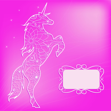 miracle leaf: Vector pink backdrop with unicorn