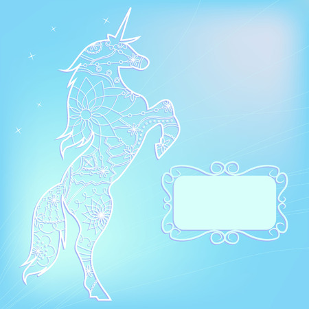 miracle leaf: Vector blue background with unicorn Illustration