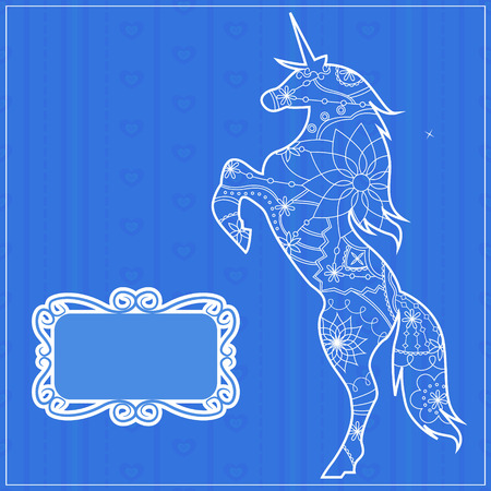 miracle leaf: Vector blue backdrop with unicorn Illustration
