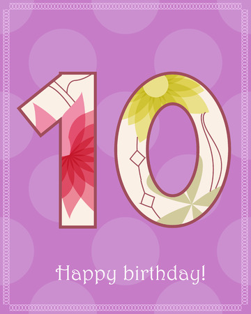 ten: Vector happy birthday ten years card Illustration