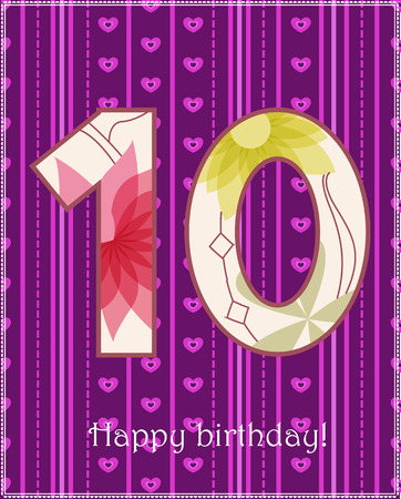 ten: Vector happy birthday ten years old card