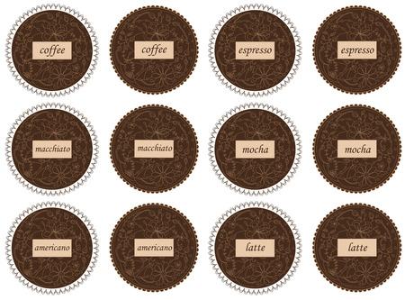 disegno a mano: Set di vettore disegno a mano le etichette di caff�