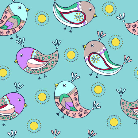 그린: Vector seamless pattern with painted birds 일러스트