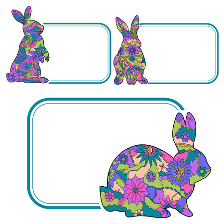 pink rabbit: Vector set of banner with colorful painted rabbits