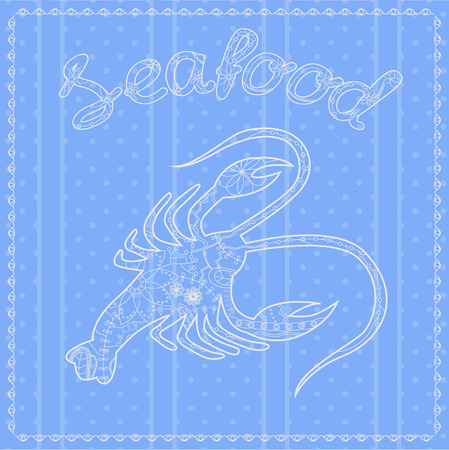 seafood background: Vector seafood background with cancer