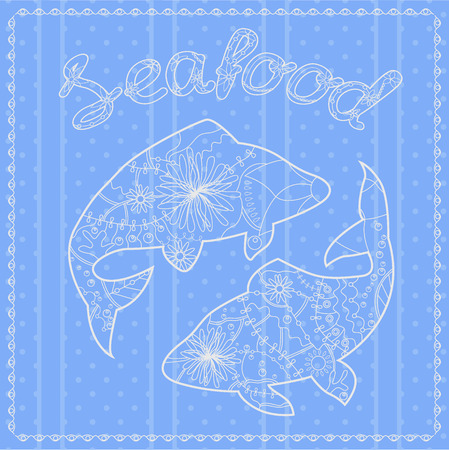 seafood background: Vector seafood background with fish