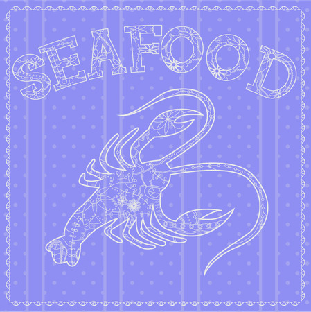 gray strip: Vector seafood background with cancer
