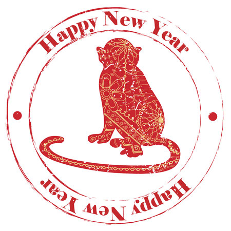 happy new year stamp: Vector isolated happy new year grunge stamp