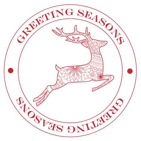 greeting season: VECTOR Greeting season stamp red with deer