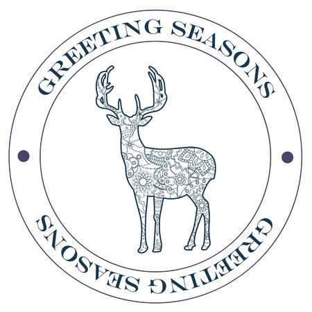 greeting season: Vector isolated greeting season stamp blue