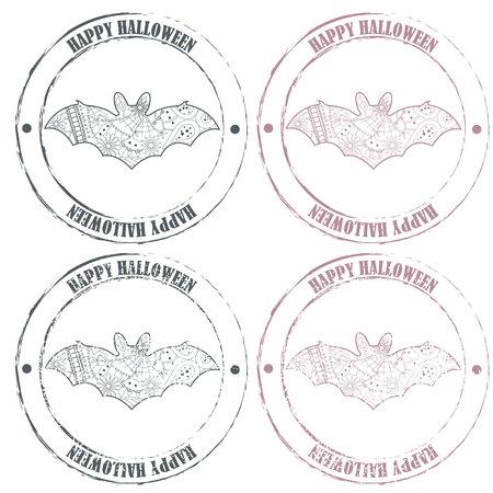 haloween: Vector conjunto de sellos feliz haloween vintage con el bate