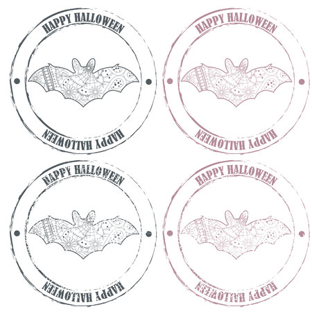 haloween: Vector set of happy haloween vintage stamps with bat Illustration
