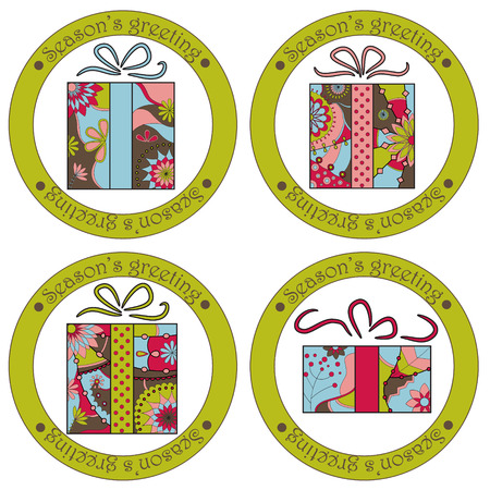 season's greeting: Vector set of seasons greeting stickers with christmas gifts Illustration