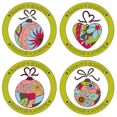 season's greeting: Vector set of seasons greeting stickers with christmas toys
