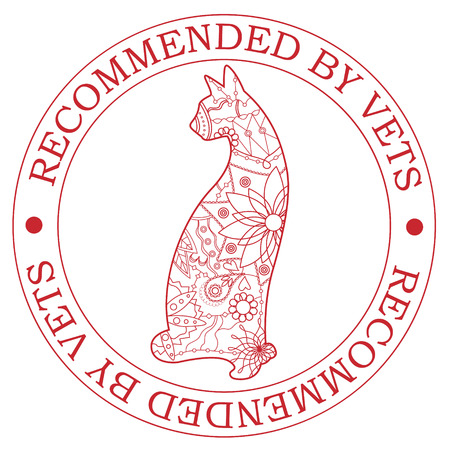 recommended: Vector stamp recommended by vets with cat