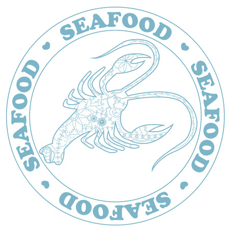stiker: Vector seafood stamp with cancer