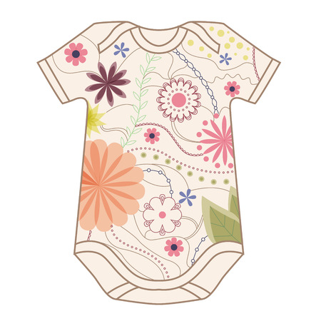 baby clothing: Vector isolated babys body vintage