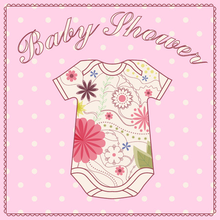 baby clothing: Vector vintage baby shower girl with bady clothing