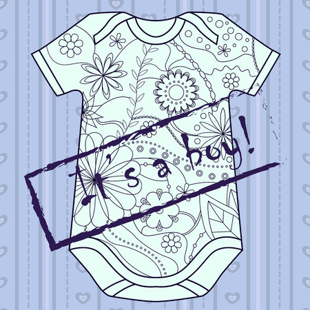 its a boy: Vector its a boy card with stamp and body Illustration