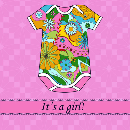 it's: Vector its a girl card with ribbon and body