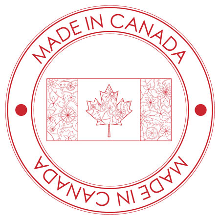 canada stamp: Vector made in Canada stamp
