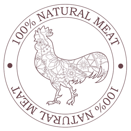 natural cock: Vector natural meat stamp with cock
