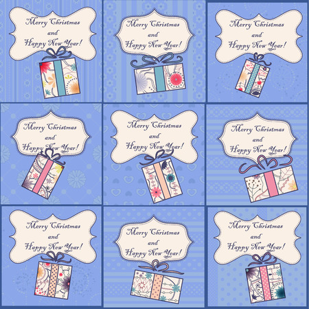 tarjetas a�o nuevo: Vector big set of mini christmas and new year cards with gifts vintage Vectores