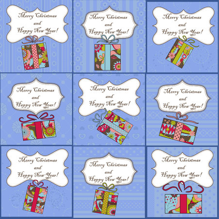 tarjetas a�o nuevo: Vector big set of mini christmas and new year cards with gifts