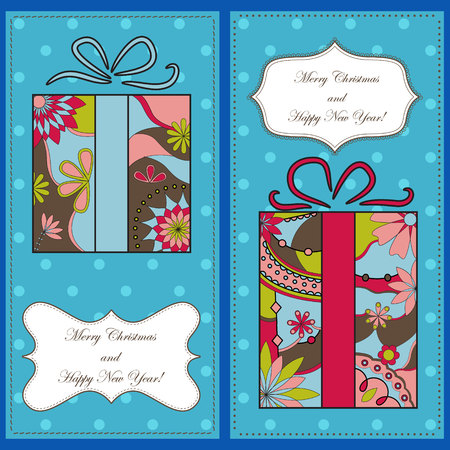 tarjetas a�o nuevo: Vector set of christmas and new year cards with gifts Vectores