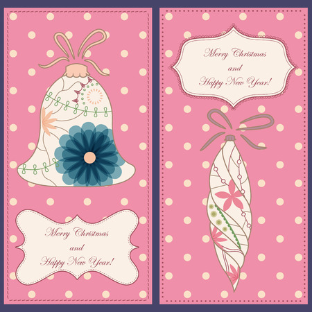 tarjetas a�o nuevo: Vector set of christmas and new year cards with toys vintage
