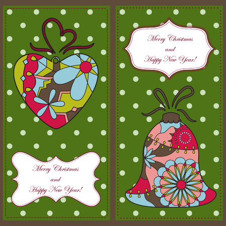 tarjetas a�o nuevo: Vector set of christmas and new year cards with toys