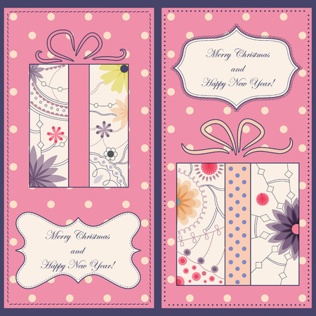 tarjetas a�o nuevo: Vector set of christmas and new year cards with gifts vintage Vectores