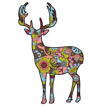 Vektor Malerei Silhouette der Hirsche Standard-Bild - 46449281