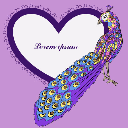 peacock: Vector background with peacock and heart shape banner