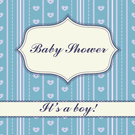 its: Vector  background with banner baby shower boy vintage Illustration